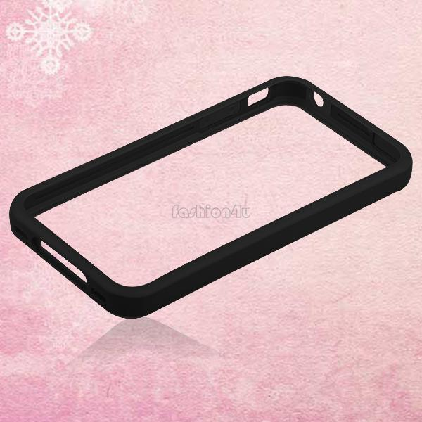 Metal Buttons Bumper Frame Silicone Side Cover TPU Case For iPhone 4th 4 Gen 4S