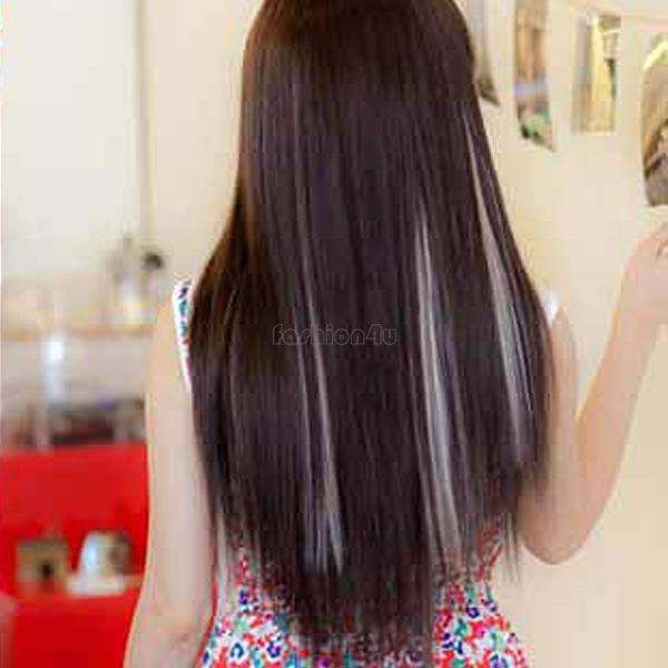 14 Solid Colors Clip On In Synthetic Long Straight Slice Hair Extension Piece