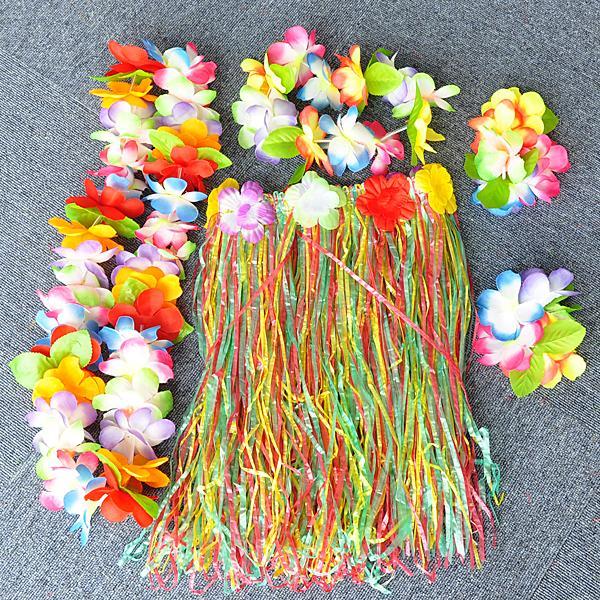 Fancy Dress Hawaiian Grass Skirt Floral Headband Necklace Garland Lei Leis Set
