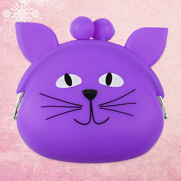 lady lovely smile face cat silicone gel change key coin case pouch purse wallet