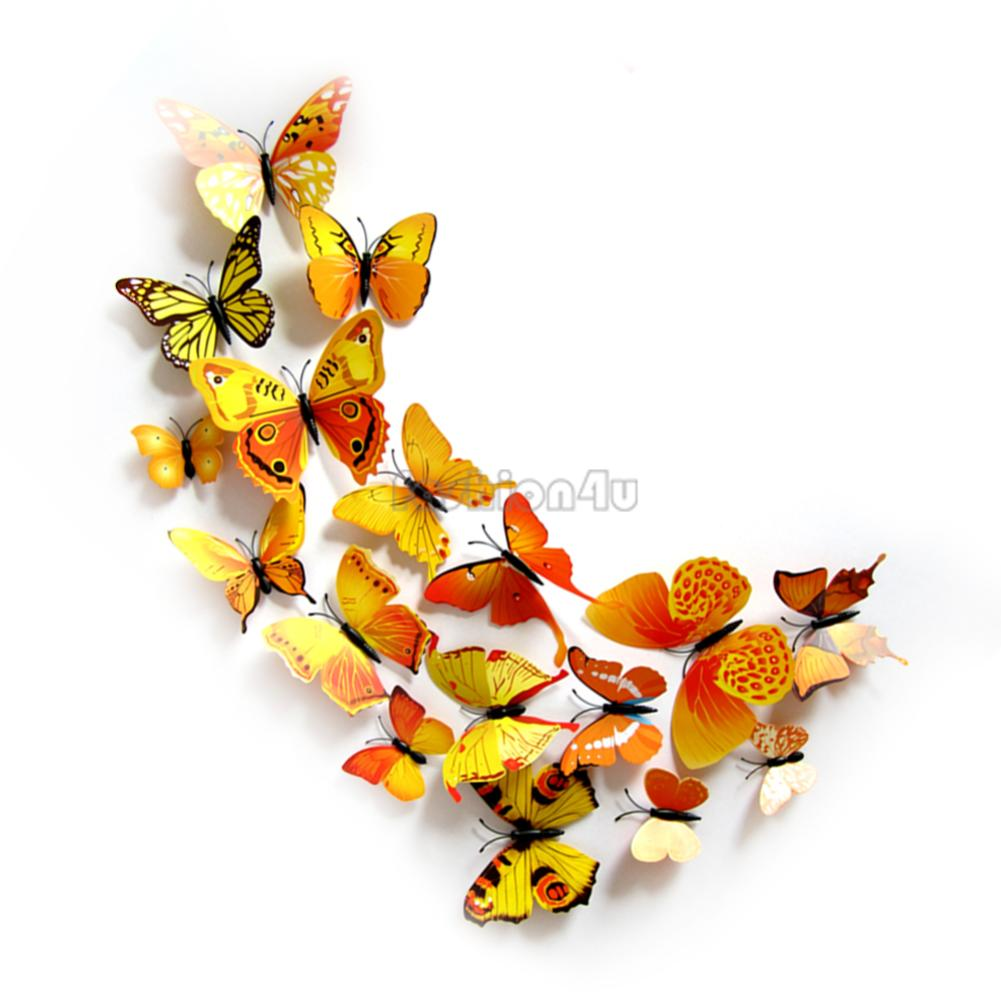 3d butterfly mirror effect wall stickers art mural decal for Butterfly wall mural stickers