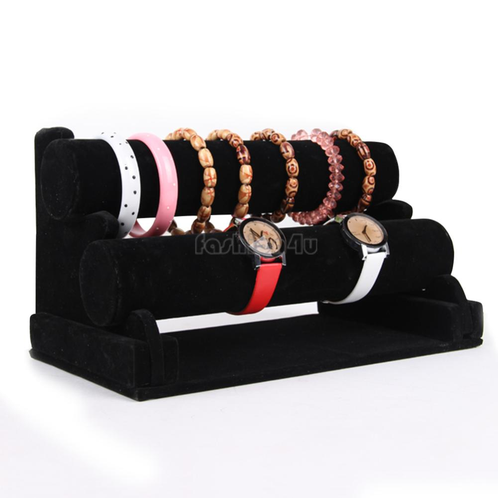 Fashion 1/2/3 Tier Watch Bangles Bracelets Organizer Jewelry Hard Display Stand