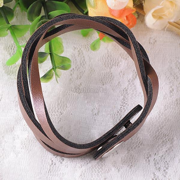 Womens Unisex Faux Leather Wrap Wristband Cuff Punk Bracelet Bangle Belt