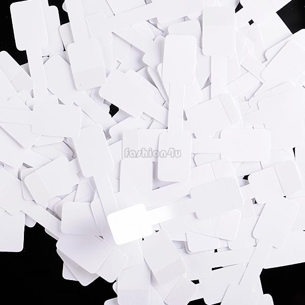 50pcs Blank Jewelry Ring Necklace Display White Paper Price Tags Labels Stickers