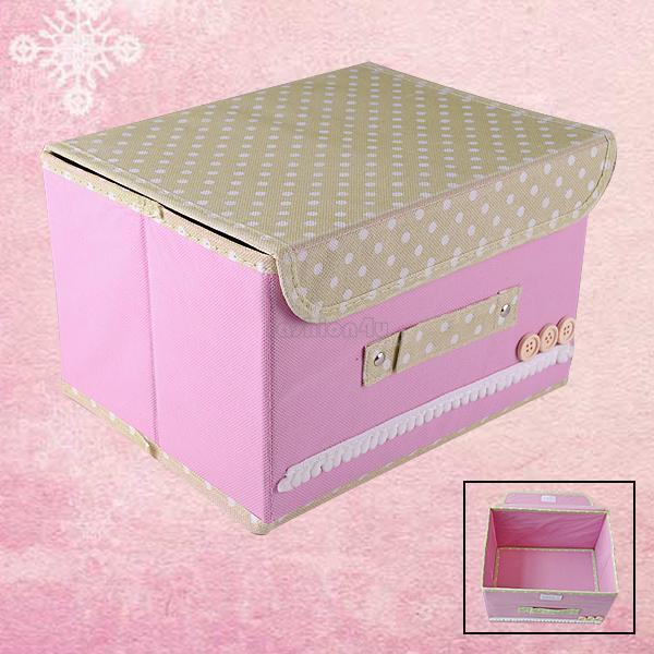 Clothes Sundries Storage Box Organizer Case Container Non Woven Fabric + Cover