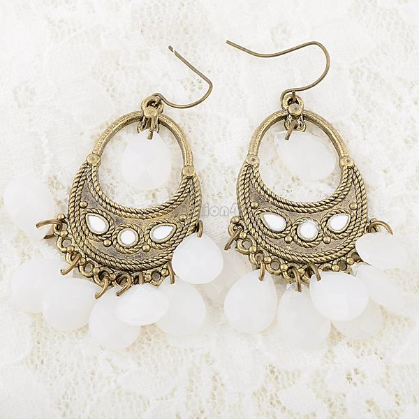 Stylish Retro Women Ladies Crystal Beads Ear Studs Hook Earrings Eardrops