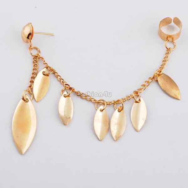 Elegent Leaf Shape Punk Cuff Chain Connect Stud Clip Golden Earring For Women