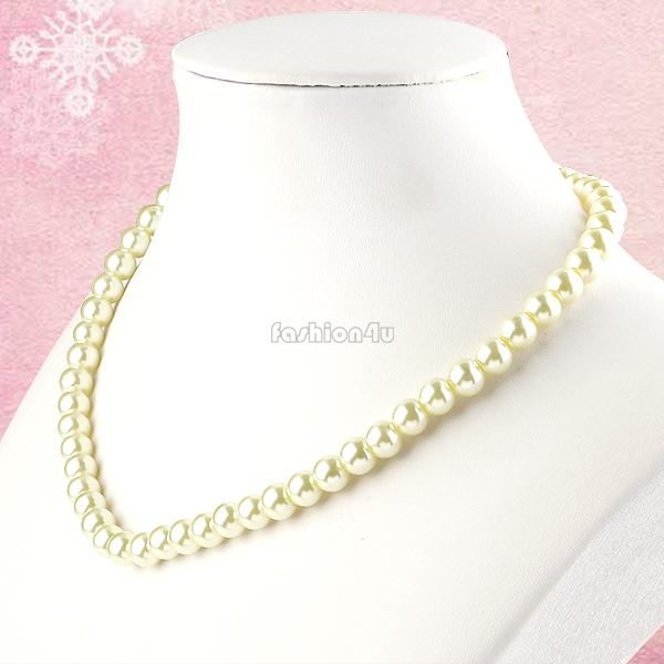 8mm Faux Glass Pearl Beads Necklace Wedding Party Bridal Bridesmaids Jewelry