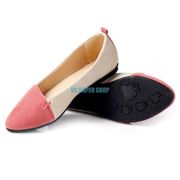 Women Ballet Slip-on Pointed Toe Comfy Matte PU Suede Leather Flat Shoes Loafers