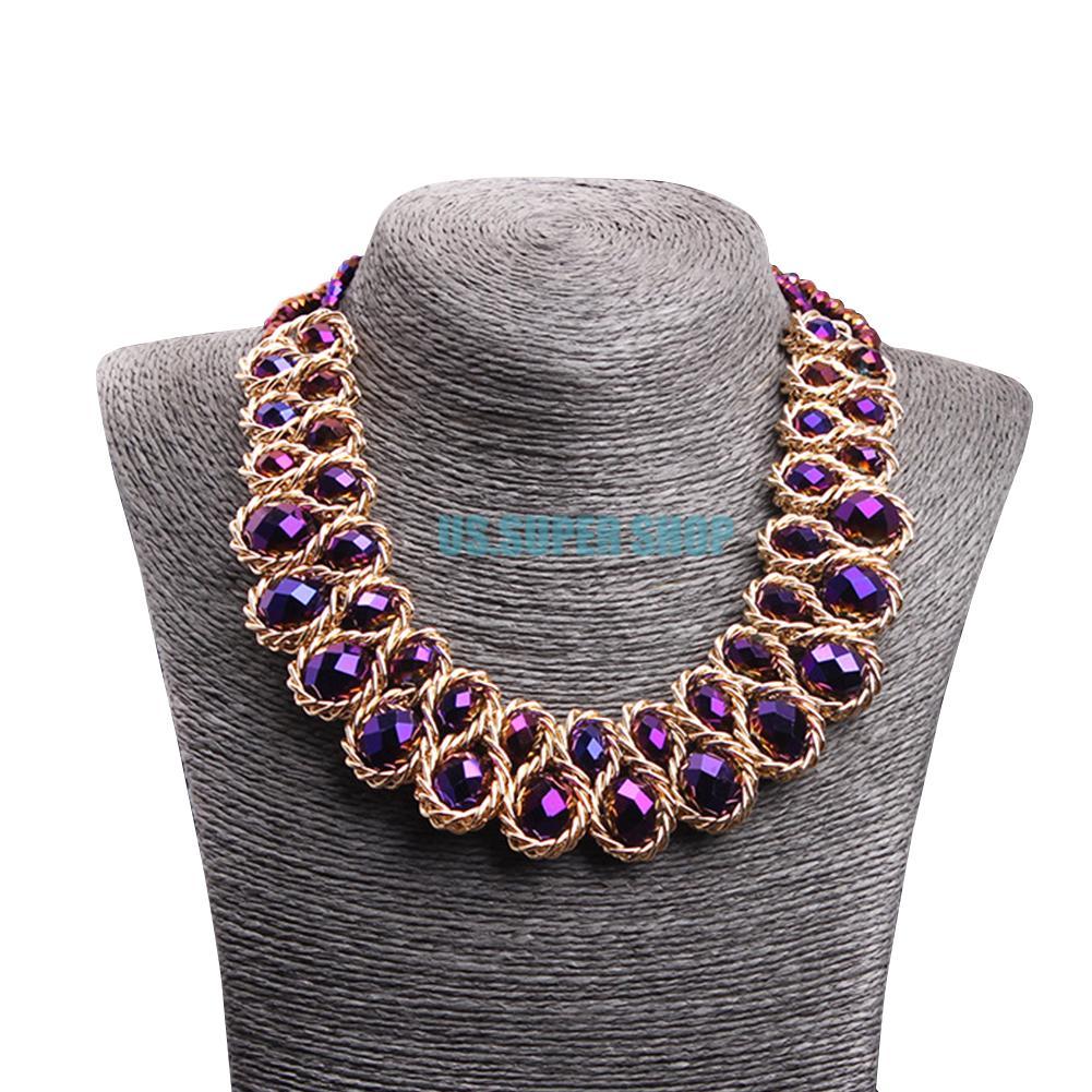 Fashion Jewelry Retro Crystal Chunky Statement Bib Pendant Chain Choker Necklace