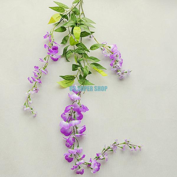 Long String Artificial Silk Wisteria Flower Vine Hanging Garland Wedding Decor