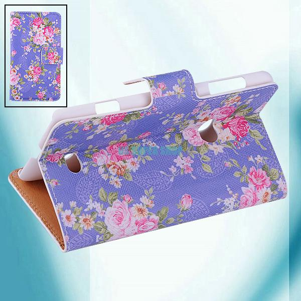 Flower Printed Flip Stand Wallet Card PU Leather Cover Case For Nokia Lumia 625