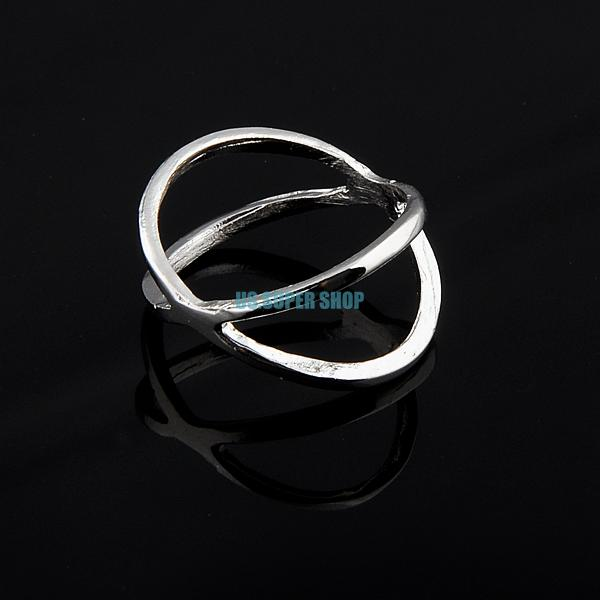 Three-dimensional Women's Ladies Criss Cross Design Round Fashion Band Ring